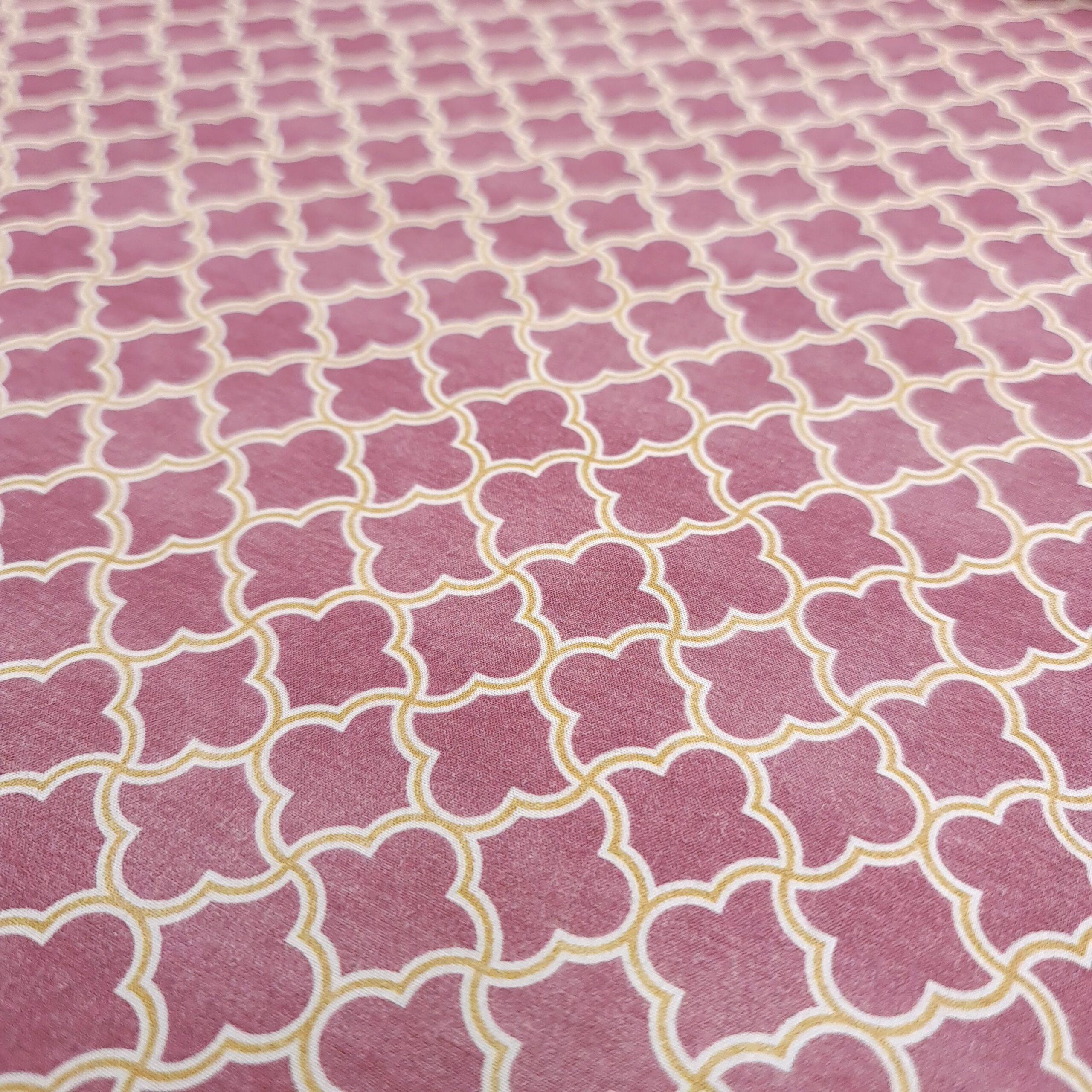 popeline grafisch pink/gelb