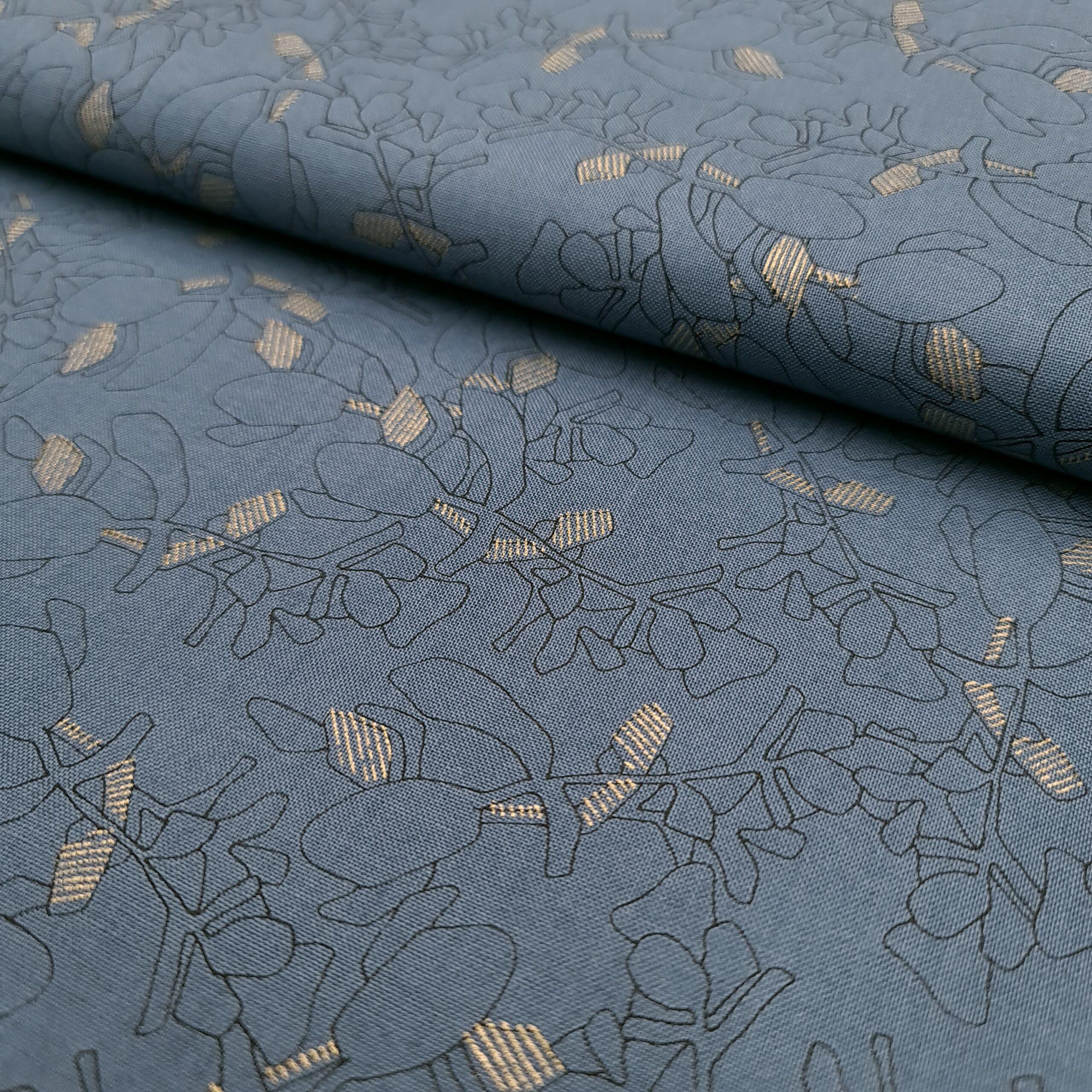 blätter blau gold baumwolle