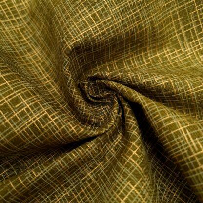 gitter grün gold baumwolle