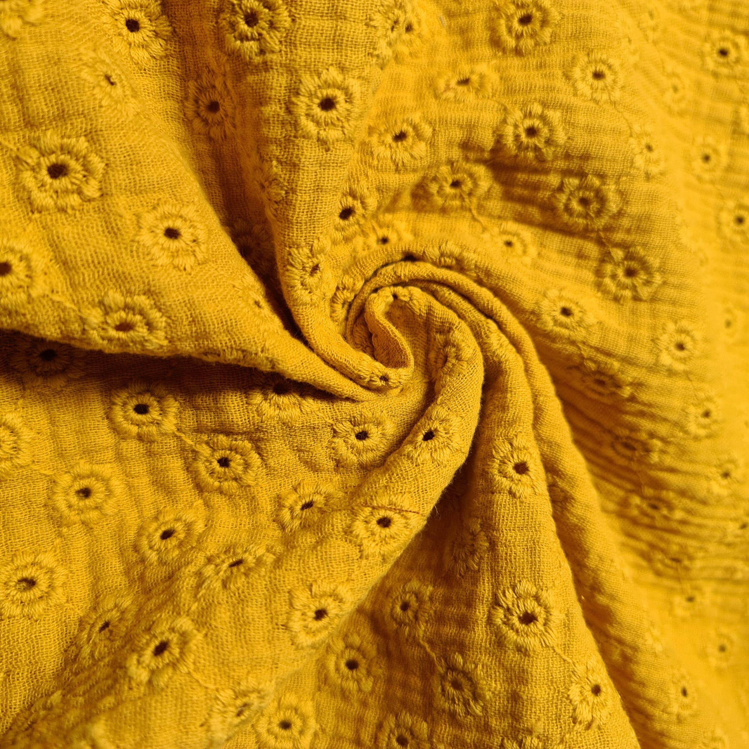 bestickte double gauze gelb
