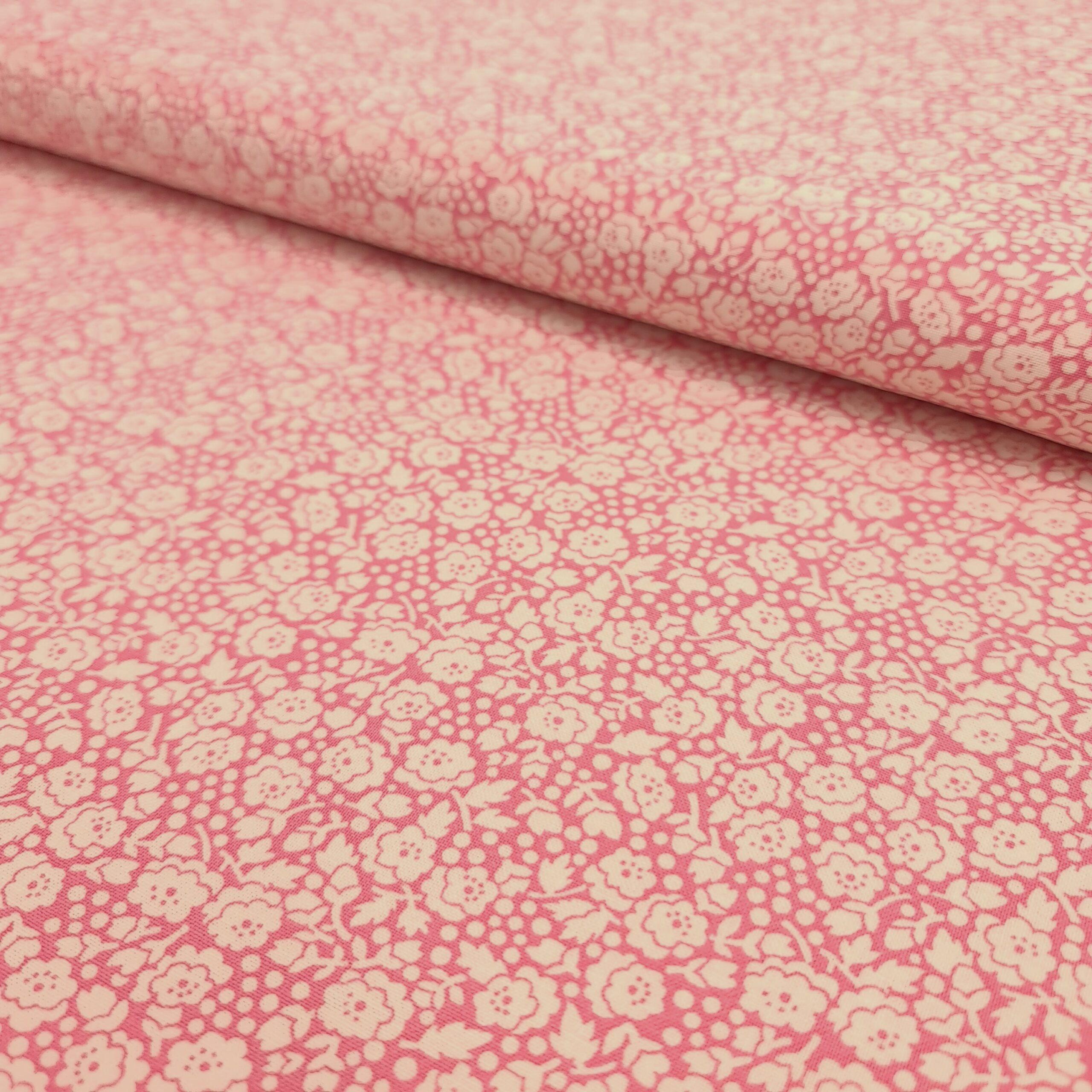baumwollpopeline blumenmeer rosa
