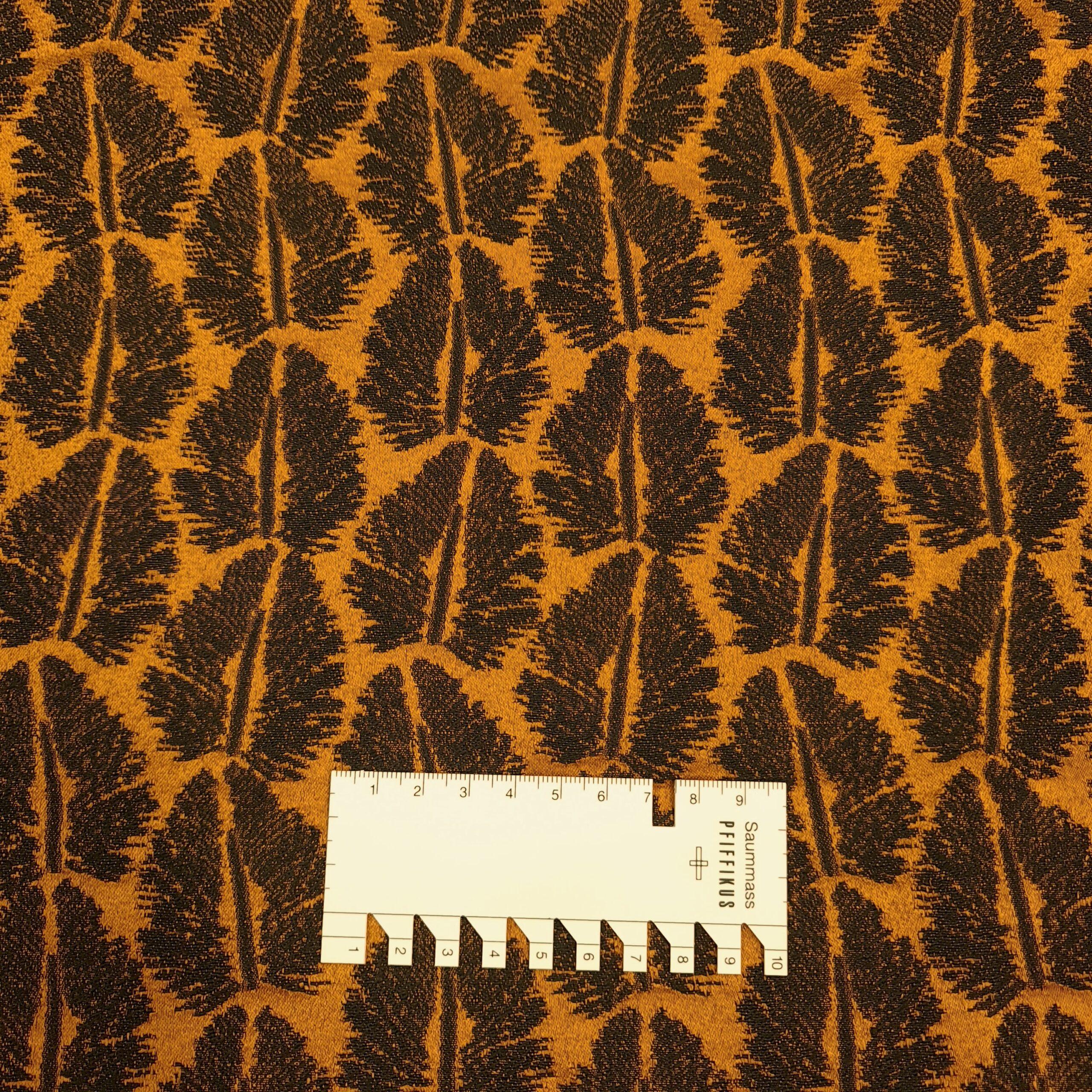 baumwoll jaquard blattmotiv gold schwarz